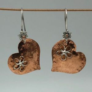 Copper Hearts and Sterling Flowers earrings